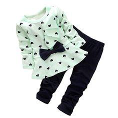 Baby Girls' Bowknot 2pcs Set Children Clothes Suit Top and Pants (Age(2T), Pink)