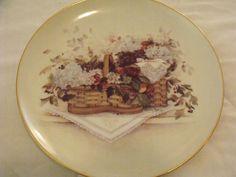 "Pat Richter Collector Plate 8"" + Hanger ""Swan Song Flowers"" 2000 Cert. Auth."