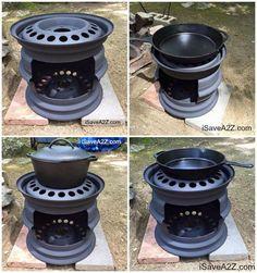 Wood stove with car rims - poele a bois diy - Diy Fire Pit, Fire Pit Backyard, Fire Pits, Backyard Seating, Backyard Bbq, Backyard Landscaping, Backyard Ideas, Barrel Fire Pit, Fire Pit Art
