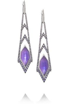 Lady Stardust 18-karat white gold multi-stone earrings #jewelry #women #covetme #stephenwebster