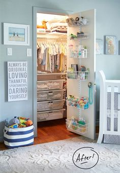Baby closet organization ideas - DIY small nursery closet organization ideas - Baby Closet Ideas - Boy Nursery Ideas - Blue Nursery Ideas for Baby Boy Baby Bedroom, Baby Boy Rooms, Baby Boy Nurseries, Small Baby Nursery, Baby Boy Bedroom Ideas, Baby Room Ideas For Boys, Babies Nursery, Room Baby, Baby Nursery Closet