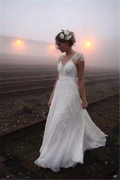 Trouwjurk romantisch bohemien model met prachtige kanten top