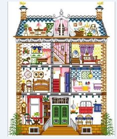 Doll-House-Full-House-Cute-Mini-Rooms-Furnitures-Cross-Stitch-Pattern