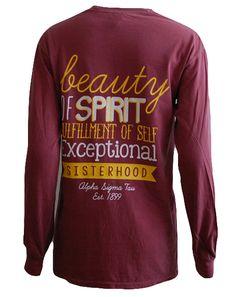Alpha Sigma Tau Sisterhood Long Sleeve by Adam Block Design | Custom Greek Apparel & Sorority Clothes | www.adamblockdesign.com