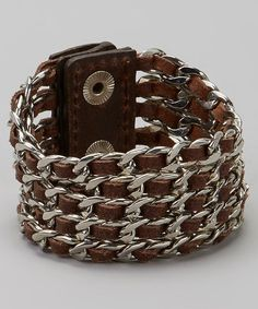 Another great find on #zulily! Brown Leather & Silver Braided Leather Bracelet #zulilyfinds
