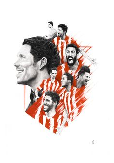 During season of Spain's football league, Atlético de Madrid became a symbol of effort, struggle and hope. I made this illustration out of gratitude and joy. Made with graphite and color pencil on paper. Soccer Art, Football Soccer, Football Players, Spain Football, Football Wallpaper, Caricature, Legends, Behance, Posters