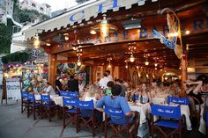 Chez Black.  Favorite restaurant on the beach in Positano., province of Salerno , campania region, Italy