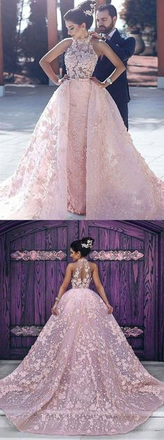 dreamy pink prom gowns, chic key hole back evening dresses, halter prom party dresses with appliques. elegant dresses with key hole appliques