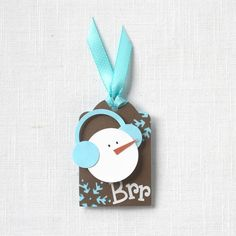 Punch art snowman tag by Kimara