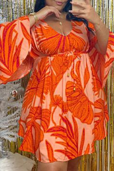 Orange Fashion Casual Print Basic V Neck Long Sleeve Plus Size Dresses Plus Size Romper, Plus Size Jumpsuit, Plus Size Dresses, Plus Size Outfits, Trendy Dresses, Sexy Dresses, Leopard Fashion, Orange Fashion, Curvy Outfits