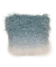 Love this Blue Ombré Faux Fur Throw Pillow on #zulily! #zulilyfinds