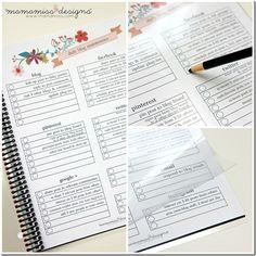 2014 Blogging Planner, Calendar,  Menu Planner | @mamamissblog #organize #2014planner