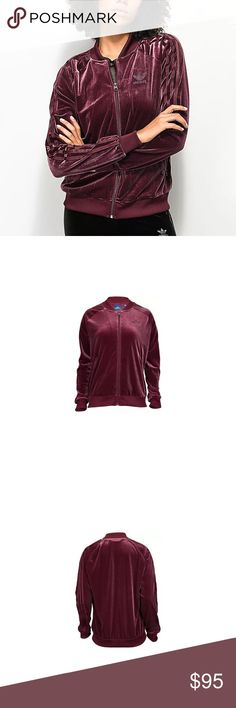 Adidas Originals Vibes Velvet Track Jacket Maroon Slip into velvety comfort in this women's adidas Originals Velvet Vibes Track Top. Perfect for getting to and from practice this jacket will keep you warm.  Full-zip permits easy removal. Zip front pockets offer secure storage for items. Ribbed cuffs and hem provide a snug fit. 3-Stripe design adds to sporty style. 91% polyester/9% elastane. Imported.    Women's Size XL. This is the version of the track jacket WITHOUT a hood. adidas Other