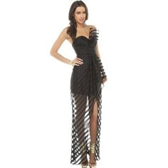 Sexy Off The Shoulder Sleeveless Back Zipper Designed Fishnet Patchwork Double Layer Black Polyester Floor length Dress_Dresses_Womens Clothing_Cheap Clothes,Cheap Shoes Online,Wholesale Shoes,Clothing On lovelywholesale.com - LovelyWholesale.com