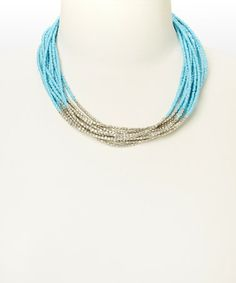 This Silver & Blue Beaded Necklace is perfect! #zulilyfinds ~ I could totally make this