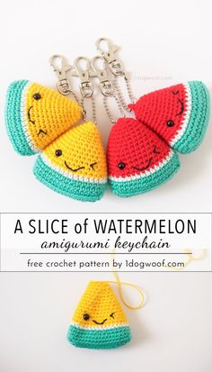 Gifts For Teacher Adorable watermelon amigurumi keychain. Perfect for stocking stuffers and teache. Watermelon Amigurumi Keychain Summer Stocking Stuffer - One Dog Woof Wassermelone Amigurumi Keychain Summer Stocking Stuffer - Emily Lazar - Willkommen bei Crochet Simple, Crochet Diy, Crochet Food, Crochet Amigurumi, Love Crochet, Crochet Gifts, Crochet Dolls, Crochet Teacher Gifts, Crochet Ideas