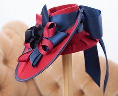 1940s Inspired Scarlet Red, Navy Trimmed Tilt Hat