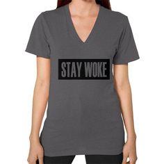 Stay Woke V-Neck (on woman)