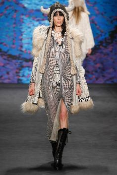 Anna Sui's closing look -- remember, last look is traditionally a bride -- is rocking an opera-lady crocheted hat, trompe l'oeil braids and all!! (Anna Sui F15 RTW)