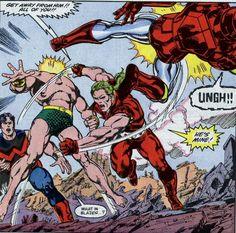 Doc Samson slugging Iron man and the Sub Mariner to Wonder Man's surprise