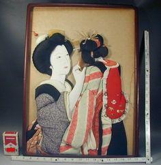 Japanese Wall Art 235 Antique Oshie Silk Fabric Kimono Geisha Girl Doll Picture | eBay