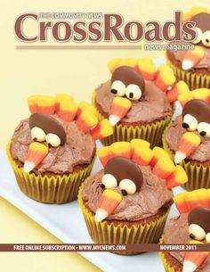 Thanksgiving turkey decorated cupcakes. Cute! Good for kids to decorate.