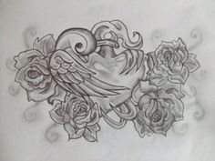Sacred Heart/Swallow/Roses tattoo