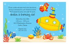 Paper So Pretty Digital Designs Yellow Submarine Invitation #KidsBirthday