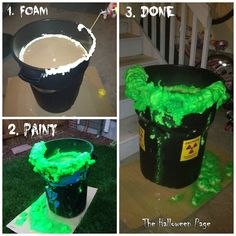 Easy DIY Toxic Waste Barrel Prop: uses $20 in supplies. Cheap trash can ($10), Great Stuff foam ($5), and Green Spray Paint ($5).