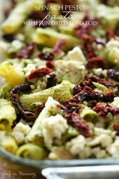 Spinach Pesto Pasta with Sun Dried Tomatoes from chef-in-training.com ....This meal is easy and SO delicious!