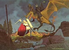 The Lord of the Rings ~  Eowyn fighting the Nazgul & the Witch King. One of my favorite characters and pictures by the brothers Hildebrandt.