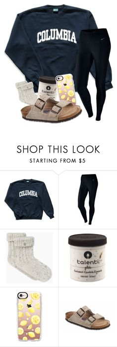 """RTD!!!"" by magsvolleyball2 ❤ liked on Polyvore featuring Columbia, NIKE, Casetify and Birkenstock"