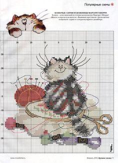 Sewing Kitty 2 of 3 Santa Cross Stitch, Cross Stitch Tree, Just Cross Stitch, Cross Stitch Animals, Cross Stitch Charts, Cross Stitch Designs, Cross Stitch Patterns, Loom Patterns, Cat Cross Stitches
