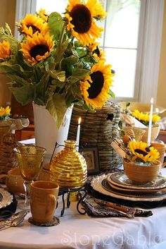 sunflower floral arrangements and table decorations Table Arrangements, Floral Arrangements, Sunflower Arrangements, Sunflower Table Centerpieces, Beautiful Table Settings, Deco Table, Mellow Yellow, Bright Yellow, Blue Yellow