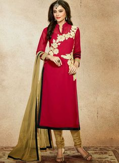 Red Georgette Suit With Resham Work