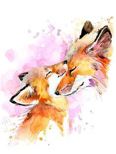 Cotton Fabric - Foxes Pillow Panel - White, Pink, Orange  - Medium Size