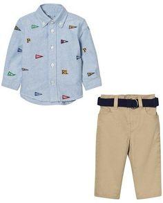 Ralph Lauren Blue Flag Shirt and Beige Chinos Set