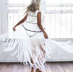Fringe White Kimono...⚪️ Boho Summer