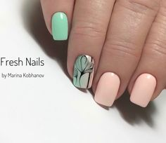 Nail art Christmas - the festive spirit on the nails. Over 70 creative ideas and tutorials - My Nails Cute Nails, Pretty Nails, My Nails, Feather Nails, Fabulous Nails, Flower Nails, Simple Nails, Nail Arts, Spring Nails