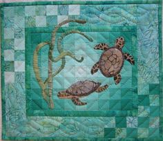 Turtles Wall Quilt Kit by donnaburkholder on Etsy Applique Patterns, Applique Quilts, Quilt Patterns, Ocean Quilt, Beach Quilt, Fish Quilt, Small Quilts, Mini Quilts, Baby Quilts