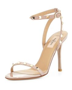 Rockstud Patent Leather Sandal, Powder by Valentino at Neiman Marcus.