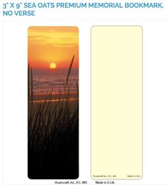 "Create laminated memorial bookmarks with Lamcraft's 3"" x 9"" Sea Oats Premium Memorial Cards"