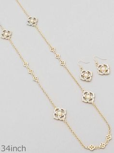 Gold Silver and Cream Pearl Flower Station Necklace Set