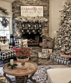 This farmhouse home looks so festive and cozy. 😍 What do you think of this beautiful decor? ❤ TAG a friend who will LOVE this! Christmas Interiors, Christmas Living Rooms, Christmas Room, Christmas Mantels, Cozy Christmas, Christmas Holidays, Christmas Fireplace Decorations, Christmas Decorations For The Home, Woodland Christmas