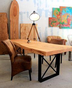 Esstisch Massivholztisch Holztisch nach Maß Naturkante unverleimt   Holzwerk-Hamburg