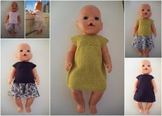 Min Dukkeverden: Kjoler, topper og skjørt Knitting Dolls Clothes, Knitted Dolls, Barbie Clothes, Diy Clothes, Doll Patterns, Knitting Patterns, Baby Barn, Our Generation Dolls, Bear Doll