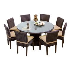 TKC Venice 60 Inch Outdoor Patio Dining Table with 8 Armless Chairs, Wheat