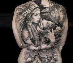 Awesome black and grey Squaw back tattoo piece by tattoo artist Steffi Eff   Post 14792   World Tattoo Gallery - Best place to Tattoo Arts