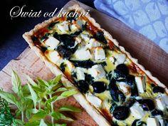 Tarta ze Szpinakiem, Fetą i Oliwkami – Świat od kuchni Feta, Vegetable Pizza, Vegetables, Kitchen, Recipes, Pies, Cooking, Kitchens, Recipies