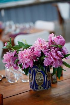 Purple Flowers in Vintage Tin Container